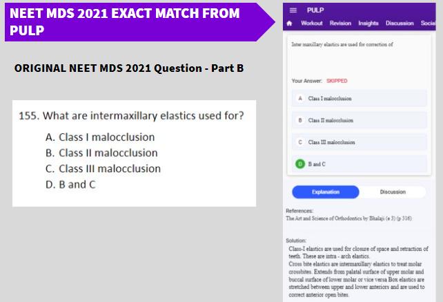NEET MDS 2021 Exact Match From PULP